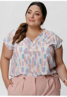 Blusa Plus Size Estampada Decote V E Sem Mangas