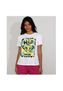 Camiseta Feminina Manga Curta Simba O Rei Leão Flocada Decote Redondo Off White