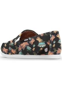 Alpargata Usthemp Slim Vegano Casual Flowers Black Preto