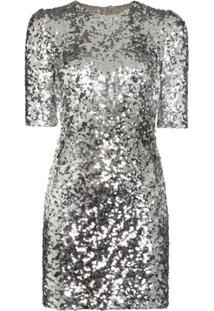 Dolce & Gabbana Vestido Com Aplicação De Paetês - Metálico