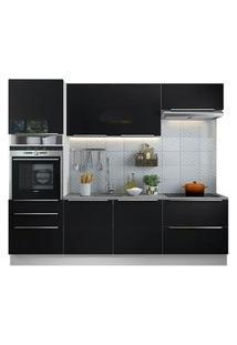 Cozinha Completa Madesa Lux Com Armário E Balcão 6 Portas 5 Gavetas Branco/Preto Cor:Branco/Preto