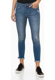 Calça Jeans Feminina Skinny Botões Cintura Alta Azul Médio Calvin Klein Jeans - 34