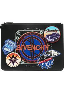 Givenchy Clutch Com Patch De Logo - Preto