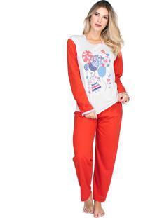 Pijama Longo Bravaa Modas Manga Comprida 010 Vermelho
