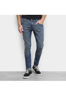 Calça Jeans Skinny Fatal Estonada Masculina - Masculino-Azul
