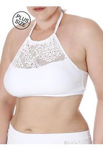 Top De Biquíni Plus Size Feminino Branco