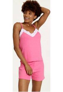 Pijama Feminino Recorte Renda Alças Finas
