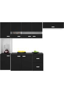 Cozinha Compacta Suspensa 4 Peças Julia - Poquema - Preto