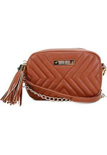 Bolsa Santa Lolla Mini Bag Matelassê Corrente Feminina - Feminino-Caramelo