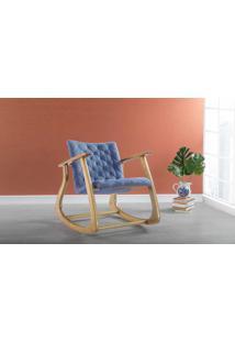 Poltrona Design De Balanço Smith 65X83X72Cm - Verniz Amêndoa \ Tec.930 - Azul Claro