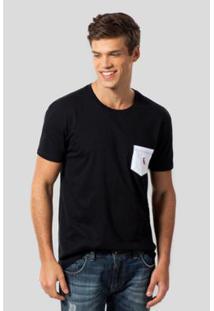 Camiseta Pt Bolso Br Pica-Pau Bordado Reserva Masculina - Masculino-Preto