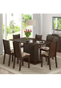 Conjunto Sala De Jantar Mesa E 6 Cadeiras Megan Madesa Tabaco/ Floral Hibiscos