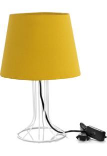 Abajur Torre Dome Amarelo Mostarda Com Aramado Branco