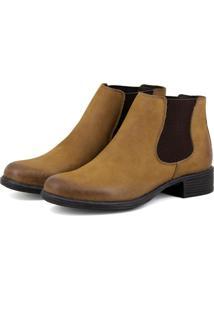 Botinha Escrete Chelsea Feminina Boots Em Camurça Caramelo
