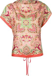 Etro Blusa Estampada De Mangas Curtas - Rosa