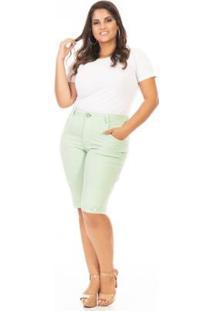 Bermuda Jeans Color Plus Size Confidencial Extra Feminina - Feminino-Verde