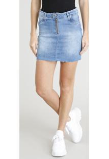 2c19ed8d0 R$ 69,99. CEA Saia Decorativo Zíper Curta Azul Algodão Elastano Jeans  Poliester Sawary Médio Com Feminina