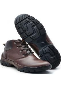Bota Free Jump Couro Flother Masculino - Masculino-Café