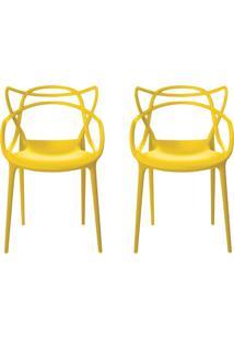 Kit 2 Cadeiras Decorativas Sala E Cozinha Feliti (Pp) Amarela - Gran Belo - Amarelo - Dafiti