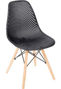 Cadeira Eames Colmeia- Preta & Bege- 82,5X46,5X42Cm