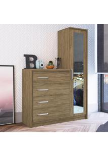 Cômoda Com 4 Gavetas Com Espelho Cm4141/E Wood - Decibal Móveis
