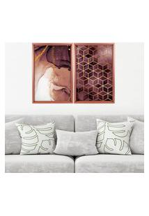 Quadro Love Decor Com Moldura Chanfrada Abstratos Rose Metalizado Grande