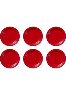 Conjunto Com 6 Pratos Rasos 26Cm Floreal Red 005165 Oxford