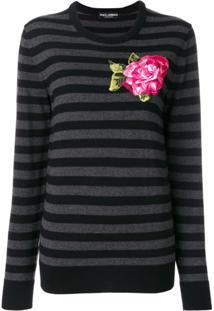 Dolce & Gabbana Blusa Com Aplicação Floral - Cinza