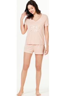 Pijama Feminino Curto Decote V Acompanha Saquinho