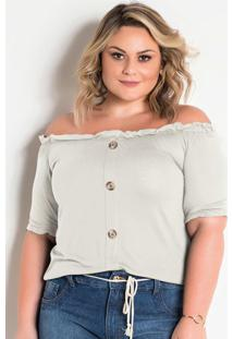 Blusa De Botões Ciganinha Off White Plus Size