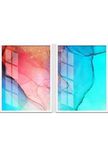 Quadro 65X90Cm Abstrato Alexandrita Moldura Branca Sem Vidro Decorativo Interiores