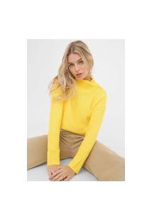 Blusa Cropped Tricot Morena Rosa Textura Amarela