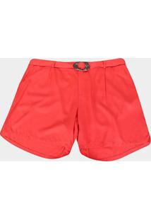Shorts Heli Plus Size Com Cinto Feminino - Feminino-Coral