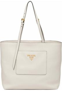 Prada Bolsa Shopping Daino - Branco