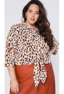 Camisa Almaria Plus Size Garage Animal Print Marro