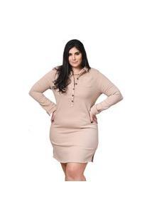 Vestido Feminino Mac-Lu Curto Imita Jeans Linha Premium Bege Egípcio