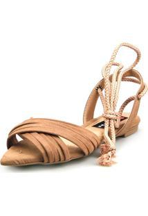 Sandalia Rasteira Love Shoes Bico Folha Amarração Cruzada Caramelo