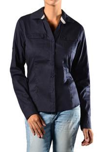 Camisa Marcia Mello Tricoline Mg Longa Azul Marinho