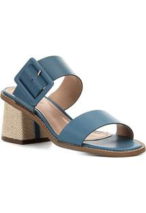 Sandália Shoestock Salto Bloco Fivela Feminina - Feminino-Azul
