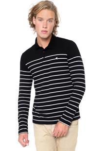 Camisa Polo Malwee Reta Listrada Preta/Branca