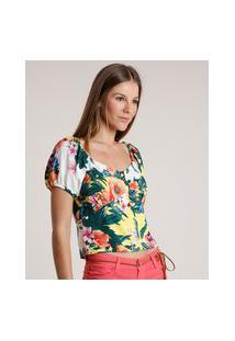 Blusa Feminina Estampada Floral Com Botões Manga Bufante Decote Redondo Amarela