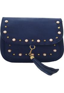 Bolsa V&V Finder Transversal Com Pérola Azul Escuro