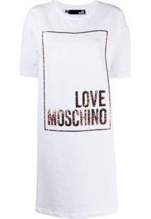 Love Moschino Vestido Love Moschino Com Brilho - Branco
