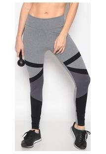 Body For Sure Legging Mescla Com Recortes Cinza & Preta