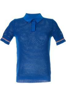 Tory Burch Camisa Polo De Tricô E Mesh - Azul