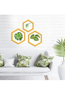 Kit 3 Quadros Com Moldura Hexagonal Flowers
