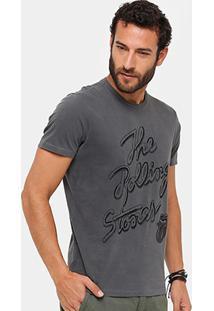 Camiseta Ellus Rolling Stones Flocada Masculina - Masculino