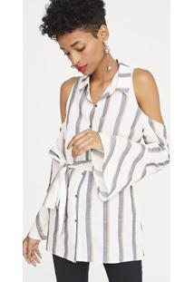 Camisa Listrada Com Laã§O - Branca & Cinzashoulder