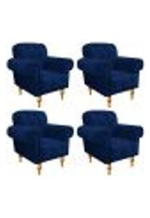 Kit 04 Poltronas Decorativas Dani Suede Azul Marinho - Amarena Móveis