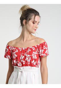 Blusa Feminina Ciganinha Estampada Floral Manga Curta Vermelha